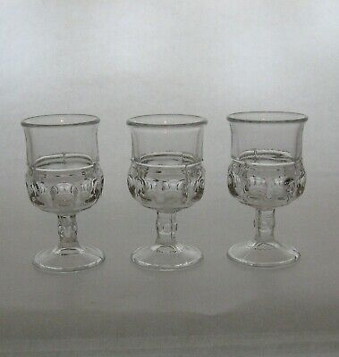 Tiffin 3 Clear King's Crown Cordial Goblets • 7.71£