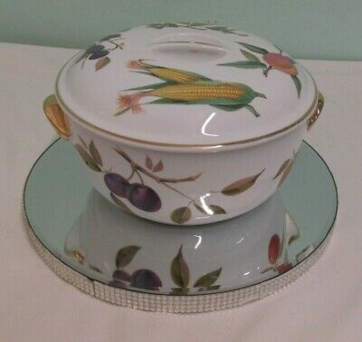 Royal Worcester Evesham Gold Fruit Round Casserole Dish With Lid 8.5  Diameter • 15£