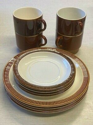 Poole Pottery Chestnut Retro Cups, Saucers And Plates - 4 Each • 25£