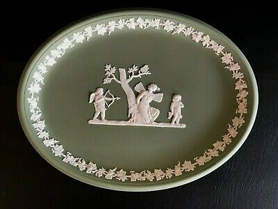Wedgwood Green Jasperware Oval Tray In Excellent Condition . • 14.99£