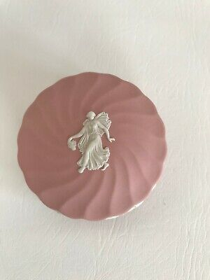 Wedgwood Pink Jasperware Floral Girl Round Trinket Box In Excellent Condition . • 29.99£
