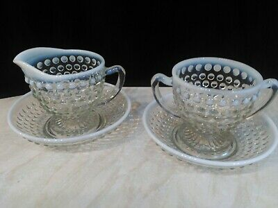 FENTON FRENCH HOBNAIL Opalescent Clear Milk Glass Sugar & Cream With Saucers. • 8£