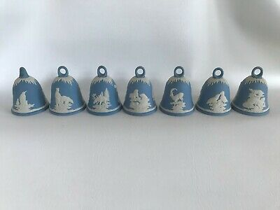 7 Wedgwood Blue Jasperware  Christmas Bells 1979-85 In Excellent Condition . • 29.99£