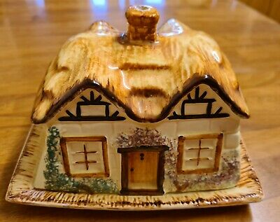 Vintage Butter Dish Thatched Cottage Ware By Paramount Rustic C 1915 • 4.90£
