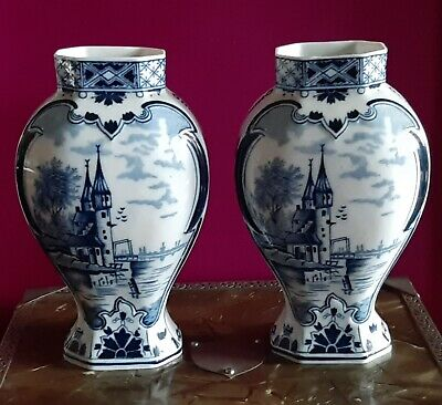 A Beautiful Pair Of Delft Dec 500 Hand Painted Vases In Excellent Condition • 1.04£