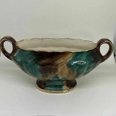 J FRYER & SON OLDCOURT WARE Twin-Handled Wide Mouth Lusterware Hand-Painted VASE • 14.99£