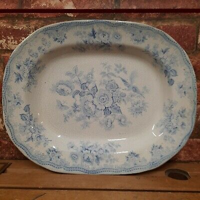 Antique Large Blue And White Serving Platter Victorian Plate Transferware Dish • 29.99£