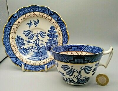 Rare Vintage Booths Real Old Willow A8025 Blue & White Breakfast Cup & Saucer • 15£