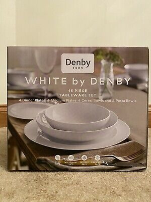BNIB Denby White Tableware Set *16 Piece* • 94.99£