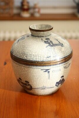 Oriental Crackle Glazed Jar With Lid, Blue And White • 15£