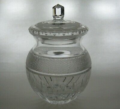 Cut Glass Heavy Biscuit Jar Barrel With Lid Mark • 22.41£