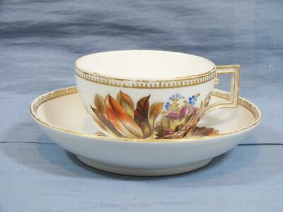 18c GERMAN MEISSEN MARCOLINI COFFEE CUP & SAUCER GOLD FLORAL PATTERN  C1790   A • 29.95£