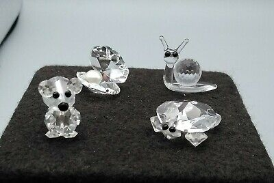 4 Small Swarovski Types Cut Glass Animals - Tortoise, Teddy Bear, Snail & Oyster • 15.99£