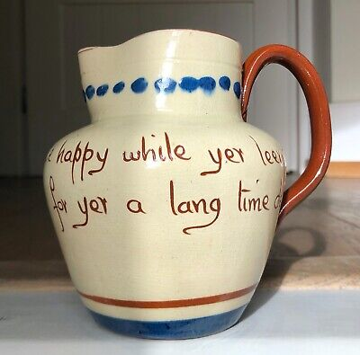 Motto Ware Pitcher Jug  Be Happy While Yer Leevin For Yer A Long Time Deid  • 13£