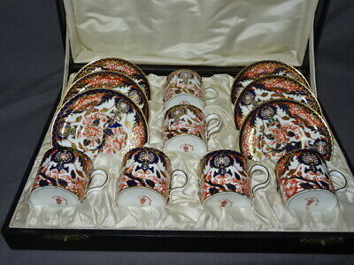 Cased Set Of 6 Royal Crown Derby Imari Kings Pattern Coffee Cans & Saucers - 383 • 225£