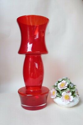 Riihimaki 1970s Large Finnish Red Hooped Glass Vase Red • 82£