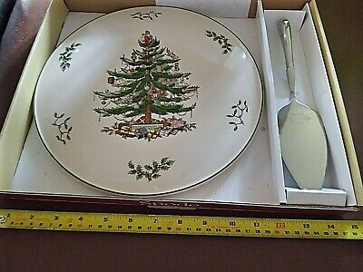 Vintage Boxed Spode Christmas Tree Cake Stand With Spode Server • 19.99£
