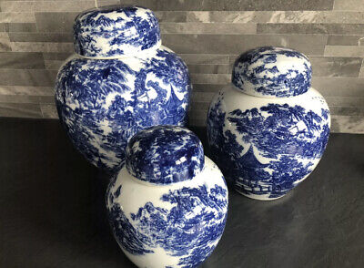 3 X Vintage Blue And White Oriental Chinese Ginger Jars - Collection Bristol • 50£