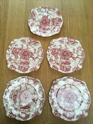 English Chippendale Johnson Bros Red Pink 5 Square Plates. Part Of A Set. • 22£