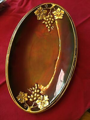 Carlton Ware Rouge Royale Red And Gold Plate With Embossed Gold Grapes • 20£