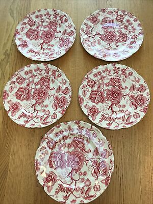 English Chippendale Johnson Bros Red Pink 7 Dinner Plates. Part Of A Set. • 35£