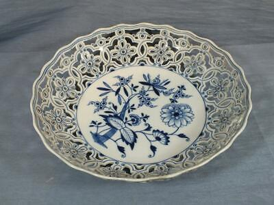 GERMAN MEISSEN RETICULATED LARGE 10.5  FRUIT BOWL FLORAL PAINTED C1930 • 29.95£