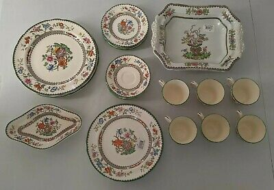 Set Of Antique Copeland Spode 'Chinese Rose' China Cups And Dishes. • 10.50£