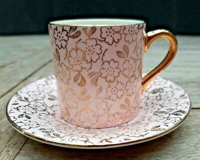 Chintzy Pink Gilt Mayell Coffee Cup & Saucer. 1930's • 10£