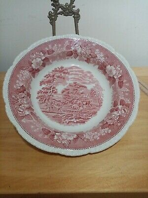 Staffordshire Adams English Scenic Red And White 10 Inch Serving Bowl • 3.79£