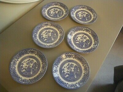 Vintage English Ironstone OLD WILLOW Saucers X 6.   • 7.50£