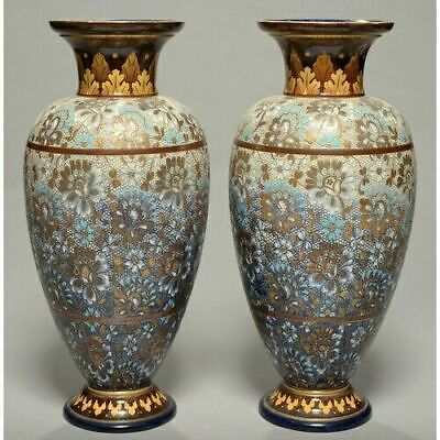 A STUNNING PAIR  Of Large Antique ROYAL DOULTON VASES  • 200£