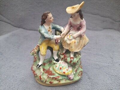 Staffordshire Pottery Flatback Victorian Style Figure Lovers Courting Couple  • 9.99£