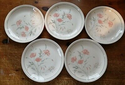 Vintage 5 X Biltons Staffordshire Dinner Plates. Coloroll Colonial Poppy Design • 4.50£
