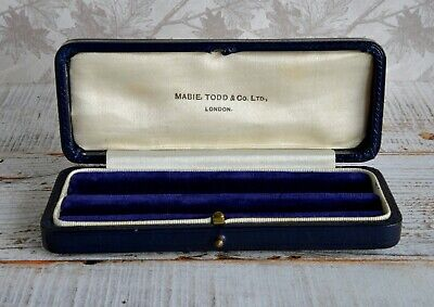 Mabie Todd Empty Leather Box For Pen And Pencil Set, Blue • 4.99£