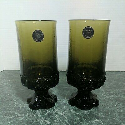 Set Of 2 Tiffin Franciscan  Green Madeira Iced Teas Heavy Vintage Glass 6 5/8  • 11.01£