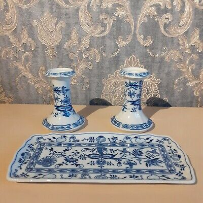 Vintage Zwiebelmuster Original Czechoslovakia Pair Of Candlesticks And A Tray • 45£