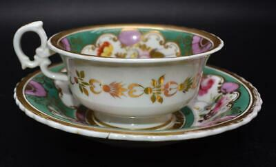 RARE ANTIQUE 19thC MINTON CUP AND SAUCER - FLORAL SPURRED RING HANDLE - GREEN • 0.99£