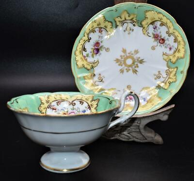 FINE ANTIQUE 19thC RIDGWAYS CUP AND SAUCER - FLORAL DETAIL - GREEN • 4.20£