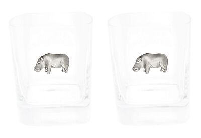 Hippo Pair Of Crystal Tumblers WT Whiskey Glasses & Box Gift 180 • 32.99£