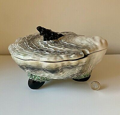 Antique Majolica Pottery Lidded Oyster/ Fish Serving Dish • 79£
