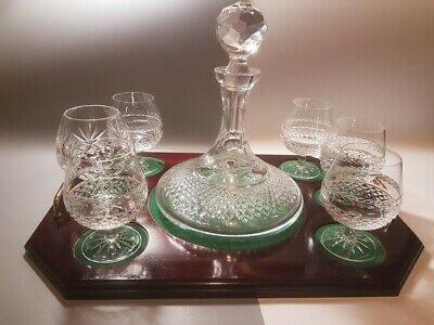 Galway Cristal Brandy Decanter, Set Of 6 Glasses, Wooden Tray • 150£