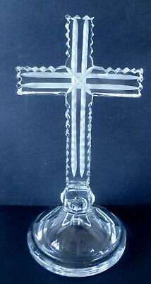 Rare Vintage Galway Cut Crystal Signed Art Glass Cross Curifix 7.25'' • 16.95£
