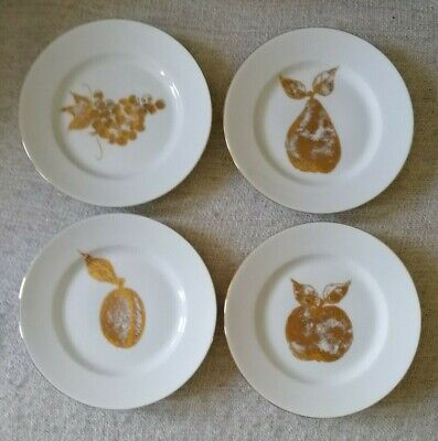 Set Of 4 Golden Fruit Plates By Boots - 8  Dessert Plates - Perfect Condition • 11£