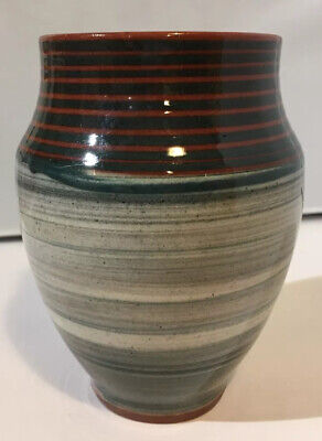 Vintage 1950s Early Holkham Pottery Vase 12 Cm High (with Crack) • 8£