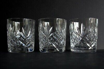 3 Vintage Lead Crystal Small Whisky Glasses - 3  High • 14.50£