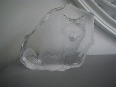 MATS JONASSON Lead Crystal Paperweight - COLLECTORS SOCIETY 1998. FOX. Signed. • 46.95£
