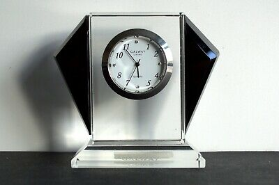 Living Galway - Crystal Miniature Clock - Art Deco Style - Working • 12.50£
