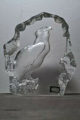 LARGE Mats Jonasson Glass Signed American Bald Eagle Paperweight - RARE • 75£