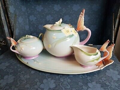 Franz Porcelain Butterfly Papillon Teapot, Sugar Bowl, Milk Jug And Tray • 299£