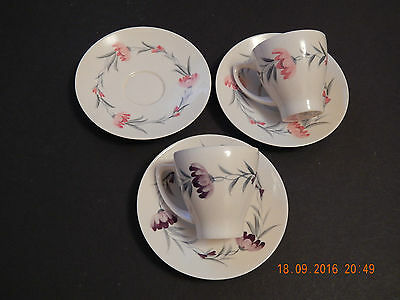 Branksome China Pink & Lilac Floral Cups & Saucers • 21.99£